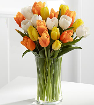 Bouquet of tulips in a vase and other spring gift ideas for birthday, anniversary, get well, thank you and more for same day delivery by Sunnyslope Floral