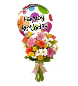 Birthday Cheer Flower Bouquet with Birthday Mylar Balloon