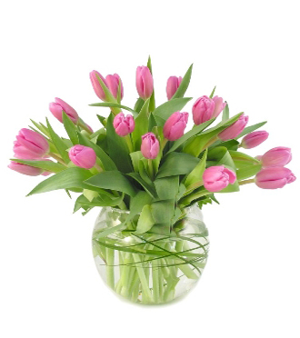 Contemporary bouquet of tulips in a glass vase for delivery to funeral homes, businesses and homes local and worldwide with Sunnyslope Floral