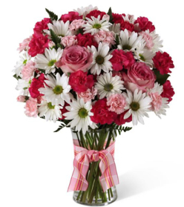 Flower delivery in Grand Rapids, in Grandville, in Holland & in Rockford of fresh pink & white flowers, Sunnyslope Floral