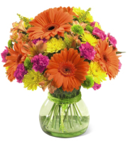 Grand Rapids Flower Delivery of orange Gerbera Daisies  and other flowers in a contemporary green vase, Sunnyslope Floral