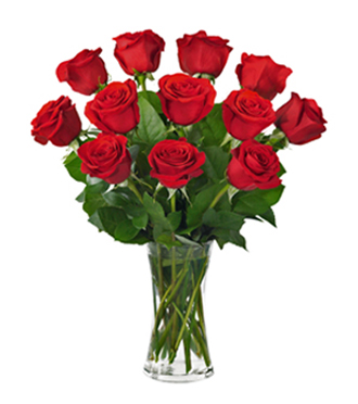 Dozen red roses in vase delivered today by local florist in Grand Rapids, Sunnyslope Floral