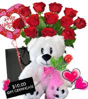 Valentine Dozen Roses with SWEET BIG DEAL PKG!   $132 Value For $114.98!