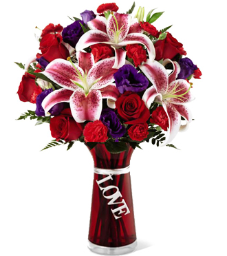 Find FLOWERS in GRAND RAPIDS AREA with STARGAZER LILIES & ROSES in a VASE for VALENTINE GIFT DELIVERY, Sunnyslope Floral