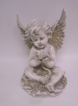 Angel Statue with Bird