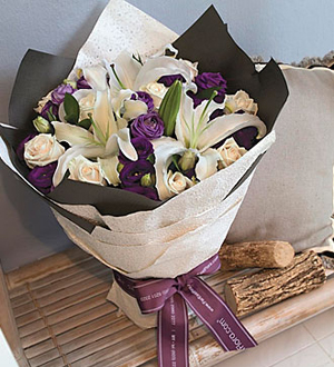 Mixed Cut Flowers White and Purple