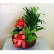 White and Coral Garden Basket