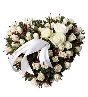Funeral Spray Heartshaped with White Roses 30cm in diameter