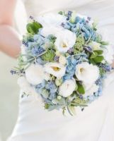 Blue and White with Succulents Bridal Bouquet