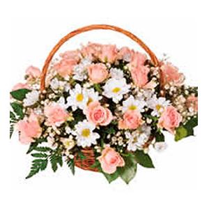 Basket Arrangement of Pink Roses