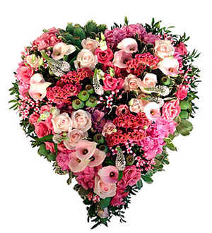 Funeral Heart Arrangement Sweetheart