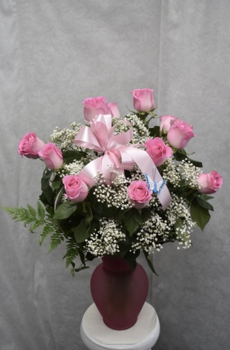 mothers day pink rose vase arr