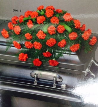 Sympathy red casket spray