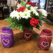 Heart Mason Jar Arrangement