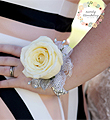 White Single Rose Corsage