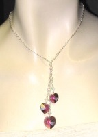 Three Crystal Heart Necklace