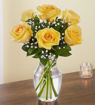 6 Yellow Roses Vase