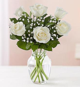6 White Roses Vase