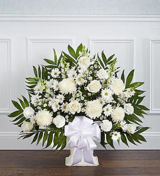 Heartfelt Tribute Floor Basket-White