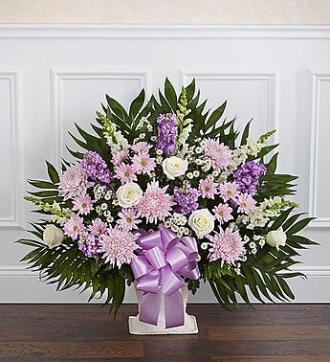 Heartfelt Tribute Floor Basket-Lavender & White