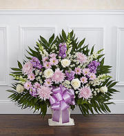 Heartfelt Tribute Floor Basket-Lavender & White