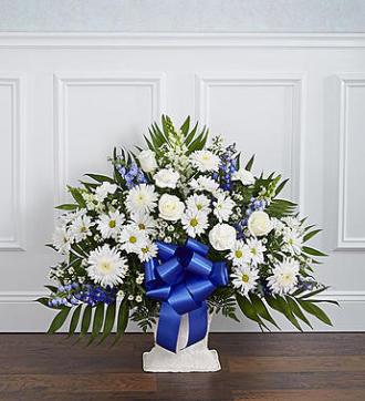 Heartfelt Tribute Floor Basket-Blue & White