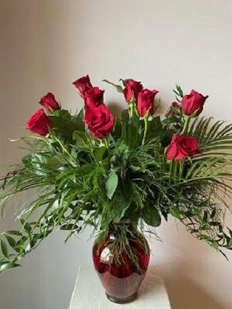 Dozen Roses Arranged in vase