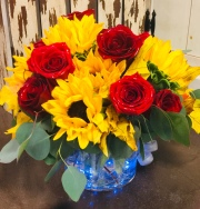 Colonial Red Rose & Sunflower Bouquet