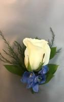 Rose w/ Delphinium Boutonniere