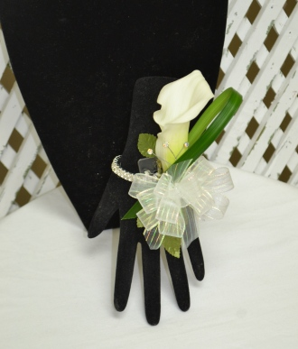 White Calla Lily on Diamond Wristlet