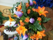 Orange and Purple Cemetary Vase