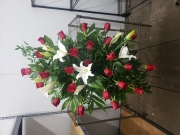 Red and White Sympathy Spray