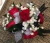 Red & White Wristlet Corsage