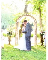 Brown Metal Love Bird Arch with Drapes