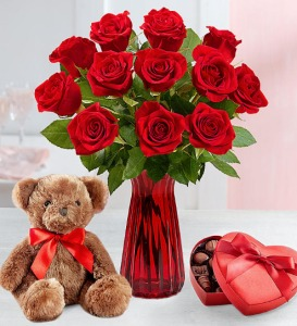 Roses with Teddy Bear & Chocolate