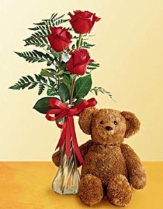 3 Red Roses with Bear