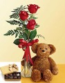 3 Roses with Bear & Chocolate