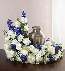 Blue & White Cremation Wreath