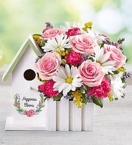 Pink Happiness Blooms Birdhouse