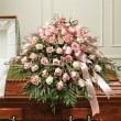 Pink & White Rose Half Casket Cover