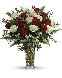Long Stem White & Red Roses
