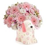 Pink Puppy Ceramic Vase