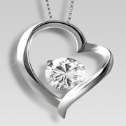 White Topaz Necklace Heart Pendant Sterling Silver