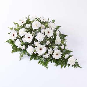 Carnation and Germini Teardrop Spray White