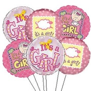 Six it's a Girl Mylar Balloons