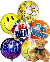 Get Well Balloons and Teddy Bear
