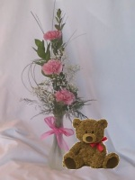 Carnation Vase and a Teddy Bear