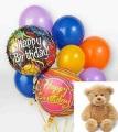 Birthday Balloons and a Teddy Bear