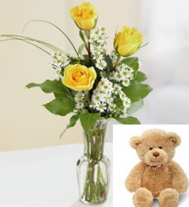 Yellow Rose Bud Vase and Teddy Bear