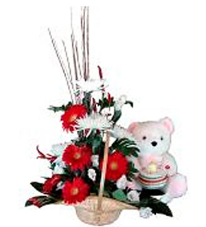 Baby Basket Arrangement with Teddy Bear